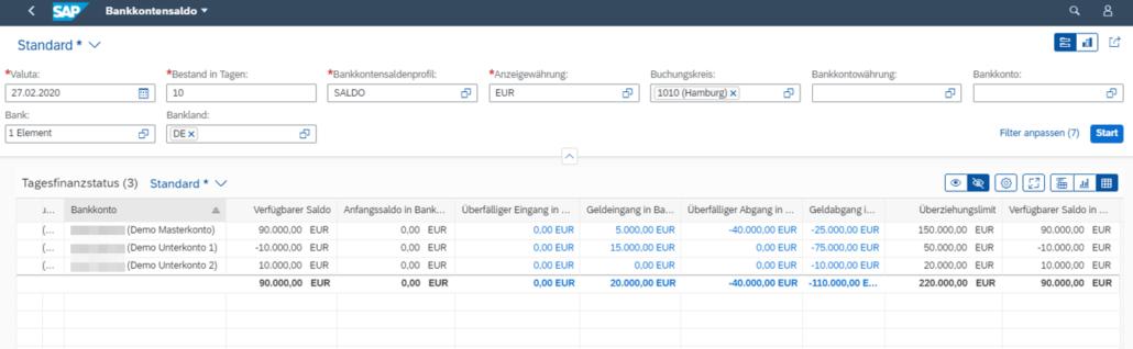 SAP Bankkontensaldo